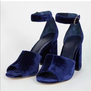 NEW Joie Lahoma Velvet Heels Sandals Blue $298